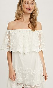 Image of off-the-shoulder short lace casual party dress. Style: FG-APB-21-CQ-AG1269 Detail Image 1