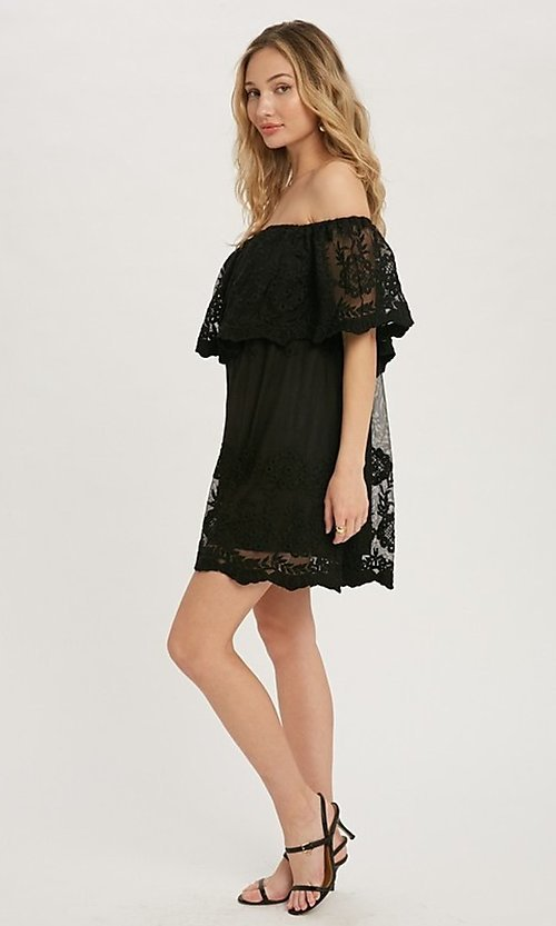 Image of off-the-shoulder short lace casual party dress. Style: FG-APB-21-CQ-AG1269 Detail Image 5
