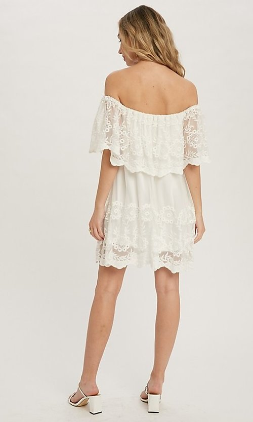 Image of off-the-shoulder short lace casual party dress. Style: FG-APB-21-CQ-AG1269 Back Image
