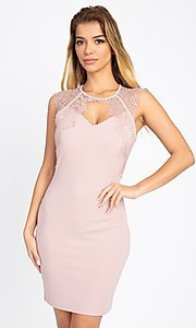 Image of lace-embellished short fitted party dress. Style: LAS-IRI-21-BD04313 Front Image