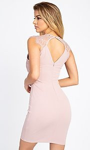Image of lace-embellished short fitted party dress. Style: LAS-IRI-21-BD04313 Back Image
