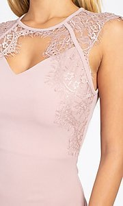 Image of lace-embellished short fitted party dress. Style: LAS-IRI-21-BD04313 Detail Image 2