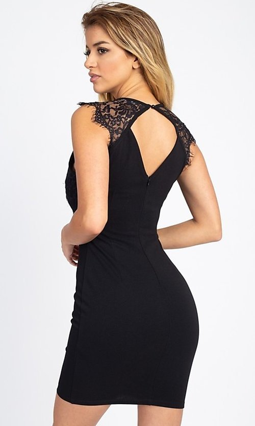 Image of lace-embellished short fitted party dress. Style: LAS-IRI-21-BD04313 Detail Image 4