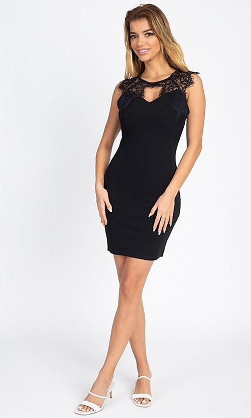 Image of lace-embellished short fitted party dress. Style: LAS-IRI-21-BD04313 Detail Image 7
