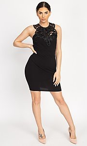 Image of embellished high-neck short tight party dress. Style: LAS-IRI-21-BD04254 Detail Image 2