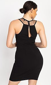 Image of embellished high-neck short tight party dress. Style: LAS-IRI-21-BD04254 Detail Image 3