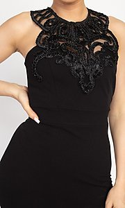 Image of embellished high-neck short tight party dress. Style: LAS-IRI-21-BD04254 Detail Image 4