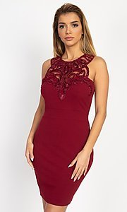 Image of embellished high-neck short tight party dress. Style: LAS-IRI-21-BD04254 Front Image