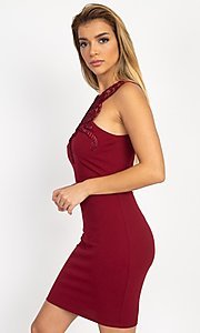 Image of embellished high-neck short tight party dress. Style: LAS-IRI-21-BD04254 Detail Image 1