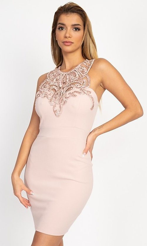 Image of embellished high-neck short tight party dress. Style: LAS-IRI-21-BD04254 Detail Image 5