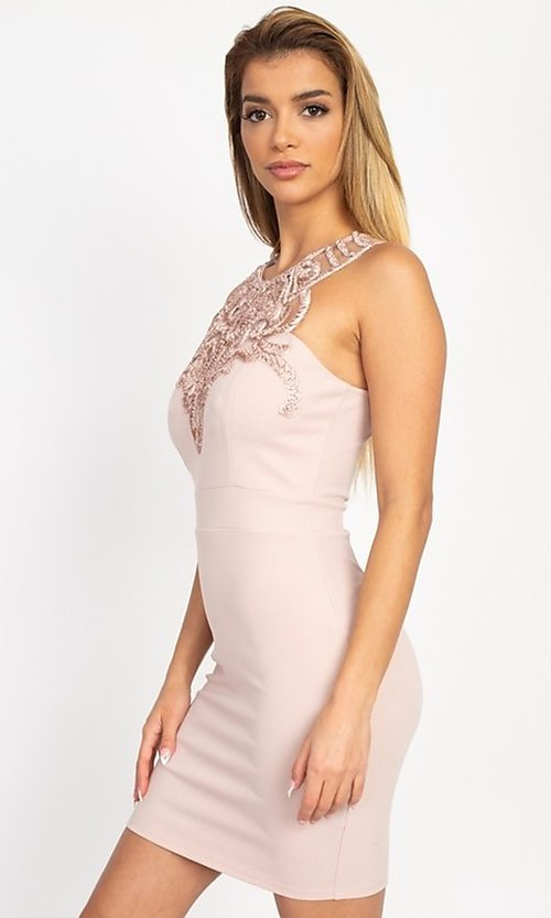 Image of embellished high-neck short tight party dress. Style: LAS-IRI-21-BD04254 Detail Image 7