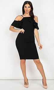 Image of off-the-shoulder ruffled short bodycon party dress. Style: LAS-IRI-21-HMD10334 Detail Image 3