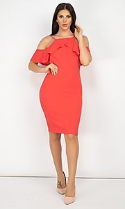 Image of off-the-shoulder ruffled short bodycon party dress. Style: LAS-IRI-21-HMD10334 Detail Image 2