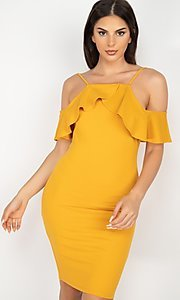 Image of off-the-shoulder ruffled short bodycon party dress. Style: LAS-IRI-21-HMD10334 Front Image