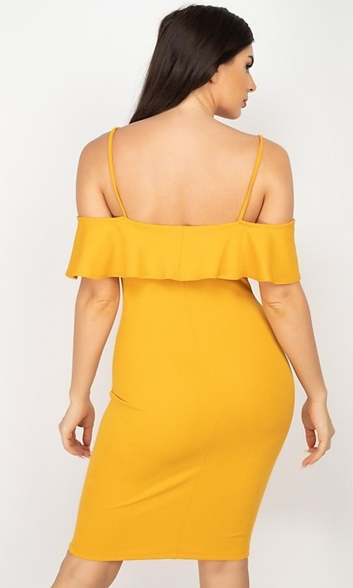 Image of off-the-shoulder ruffled short bodycon party dress. Style: LAS-IRI-21-HMD10334 Back Image