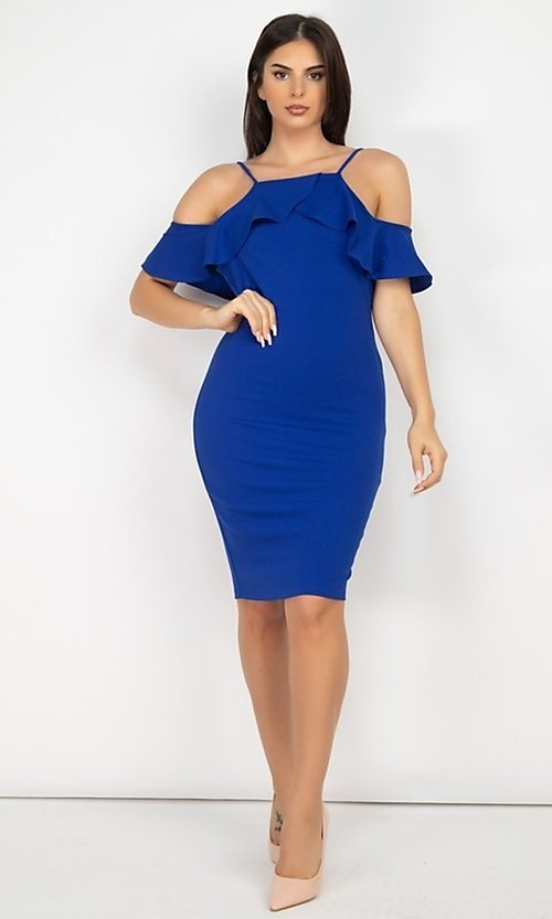 Image of off-the-shoulder ruffled short bodycon party dress. Style: LAS-IRI-21-HMD10334 Detail Image 1