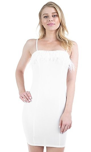 White Feather Short Bodycon Party Dress