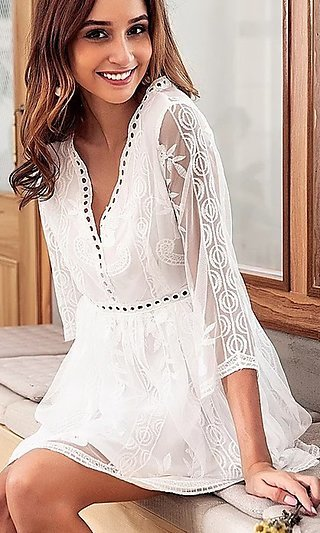 V-Neck Little White Dress with Embroidery
