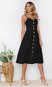 Image of button-down a-line casual white midi summer dress. Style: FG-MLD-21-CHD354402 Detail Image 2