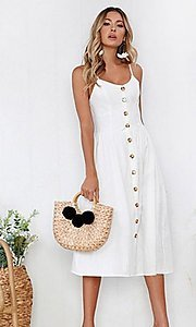 Image of button-down a-line casual white midi summer dress. Style: FG-MLD-21-CHD354402 Front Image
