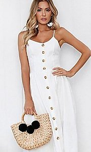 Image of button-down a-line casual white midi summer dress. Style: FG-MLD-21-CHD354402 Detail Image 1