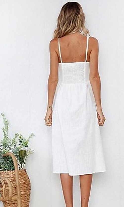 Image of button-down a-line casual white midi summer dress. Style: FG-MLD-21-CHD354402 Back Image