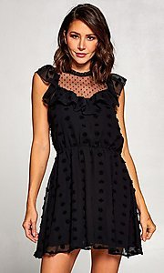 Image of short vintage-style ruffled casual party dress. Style: FG-ST-21-D-2059-H-C Front Image