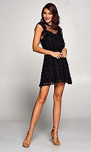 Image of short vintage-style ruffled casual party dress. Style: FG-ST-21-D-2059-H-C Detail Image 1