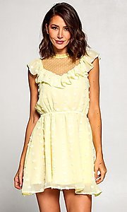 Image of short vintage-style ruffled casual party dress. Style: FG-ST-21-D-2059-H-C Detail Image 2