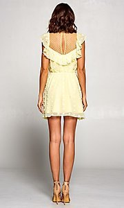 Image of short vintage-style ruffled casual party dress. Style: FG-ST-21-D-2059-H-C Detail Image 3