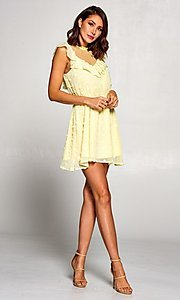 Image of short vintage-style ruffled casual party dress. Style: FG-ST-21-D-2059-H-C Detail Image 4