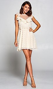 Image of short vintage-style ruffled casual party dress. Style: FG-ST-21-D-2059-H-C Detail Image 7