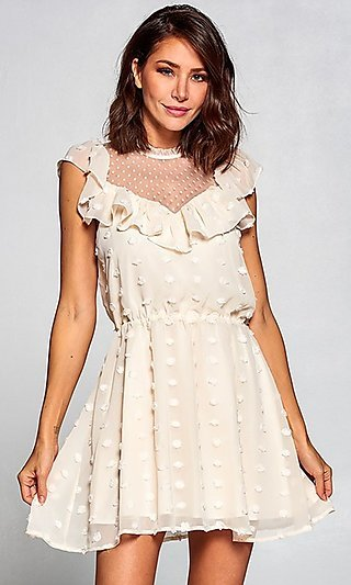 Short Vintage-Style Ruffled Casual Party Dress