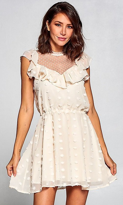 Image of short vintage-style ruffled casual party dress. Style: FG-ST-21-D-2059-H-C Detail Image 5