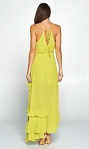 Image of whimsical wrap-style high-low ruffle party dress. Style: FG-ST-21-D-1458-H Back Image