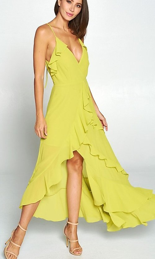 Image of whimsical wrap-style high-low ruffle party dress. Style: FG-ST-21-D-1458-H Detail Image 1