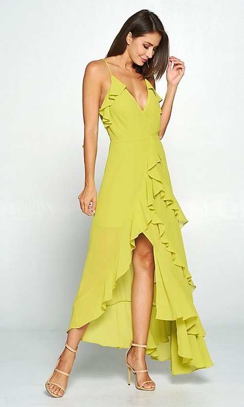 Image of whimsical wrap-style high-low ruffle party dress. Style: FG-ST-21-D-1458-H Detail Image 2