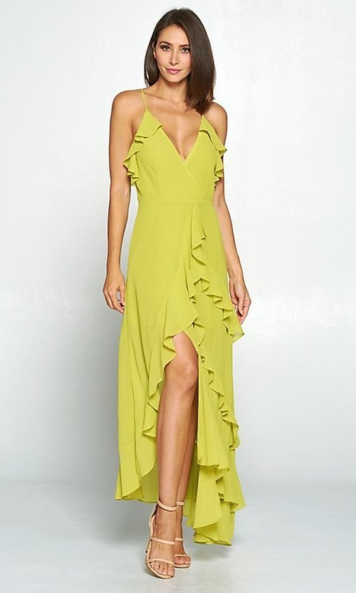 Image of whimsical wrap-style high-low ruffle party dress. Style: FG-ST-21-D-1458-H Detail Image 3