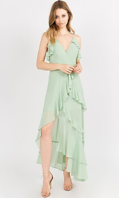 Image of whimsical wrap-style high-low ruffle party dress. Style: FG-ST-21-D-1458-H Detail Image 4