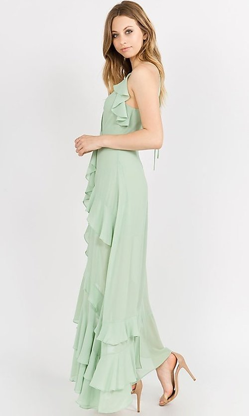 Image of whimsical wrap-style high-low ruffle party dress. Style: FG-ST-21-D-1458-H Detail Image 6