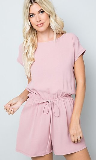 Casual Pink Short Romper with Drawstring Waist