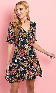 Image of short sleeve casual short button-down print dress. Style: FG-CLC-21-D1248HF-R Front Image