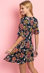 Image of short sleeve casual short button-down print dress. Style: FG-CLC-21-D1248HF-R Back Image
