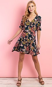 Image of short sleeve casual short button-down print dress. Style: FG-CLC-21-D1248HF-R Detail Image 1