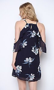 Image of navy blue floral print short homecoming dress. Style: FG-CLC-21-D94992GSCL Back Image