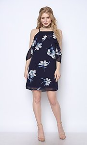 Image of navy blue floral print short homecoming dress. Style: FG-CLC-21-D94992GSCL Detail Image 2