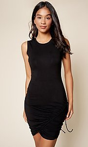 Image of tight short black casual party dress. Style: FG-BNB-21-SLSTD192390B Front Image