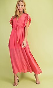 Image of long casual coral pink maxi party dress. Style: FG-BNB-21-LLOLV59154 Front Image