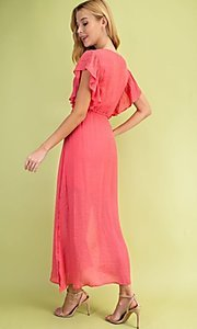 Image of long casual coral pink maxi party dress. Style: FG-BNB-21-LLOLV59154 Back Image