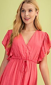 Image of long casual coral pink maxi party dress. Style: FG-BNB-21-LLOLV59154 Detail Image 3